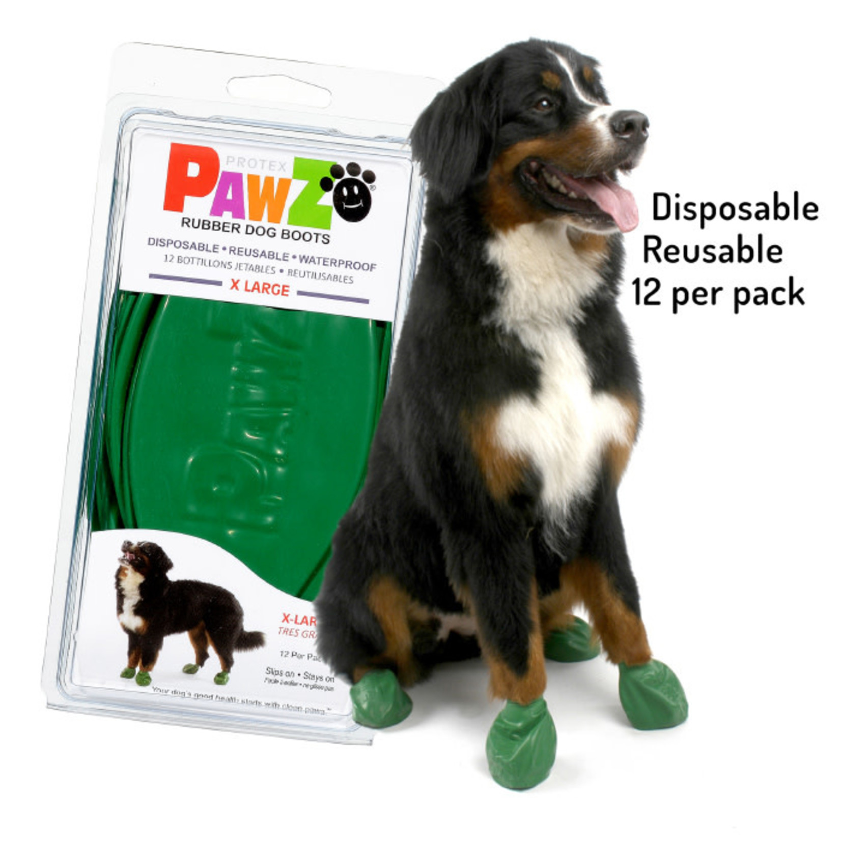 Pawz Dog Boots Green X-Large 12 Pack