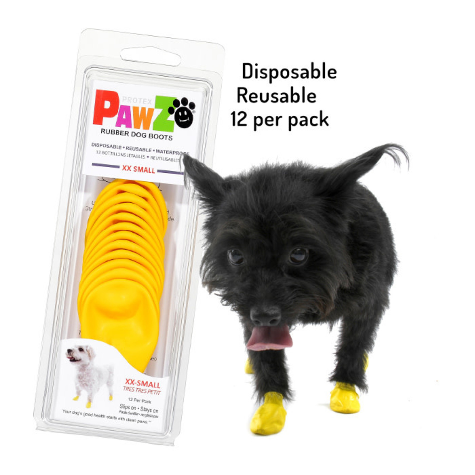 PAWZ Dog Boots Yellow  XX-Small 12 Pack