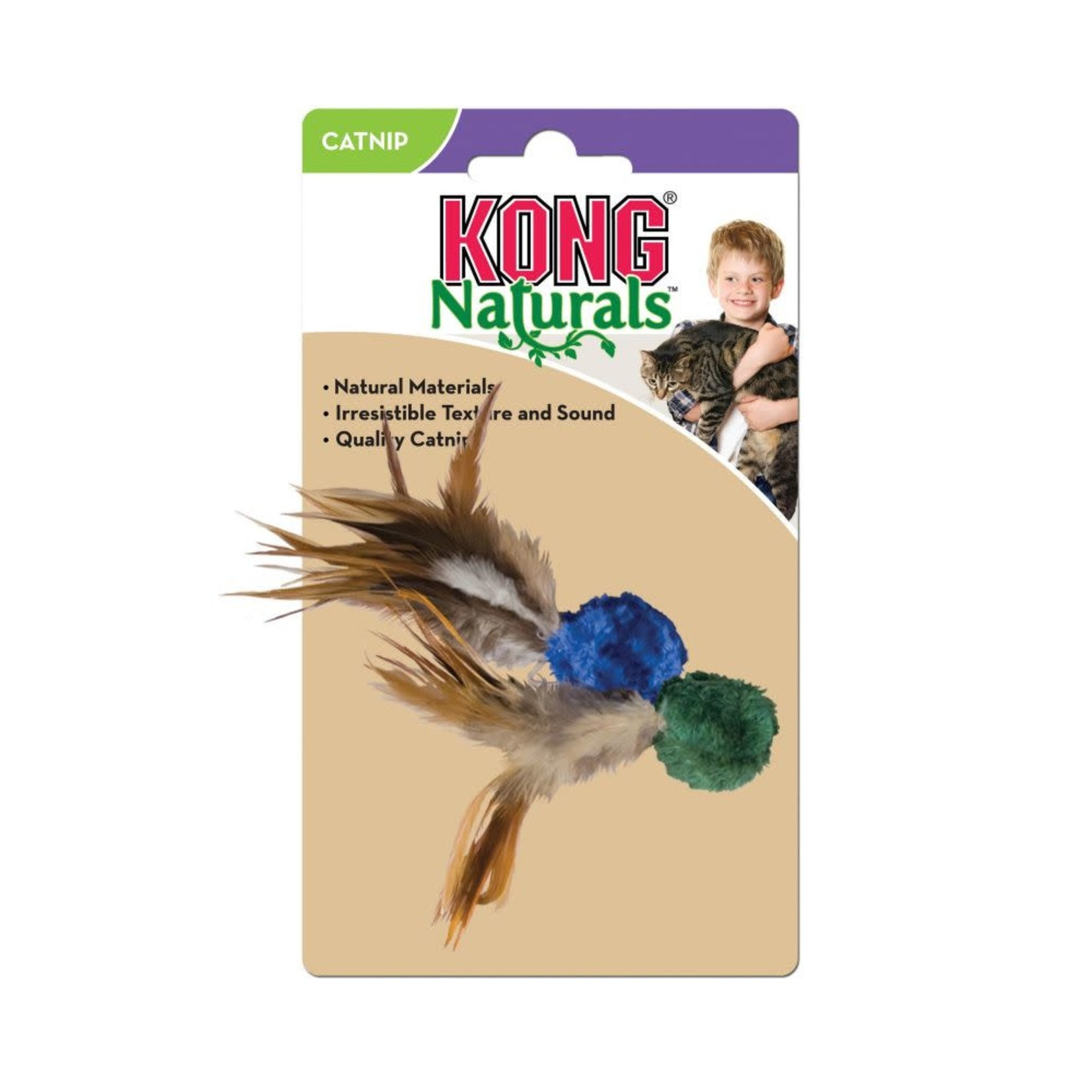 Kong Company Kong Cat Naturals Crinkle Ball With Feathers