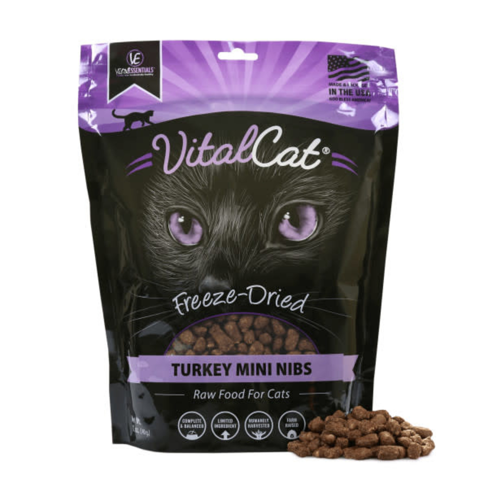 Vital Essentials Vital Essentials Cat Freeze-Dried Mini Nibs Turkey 12 OZ