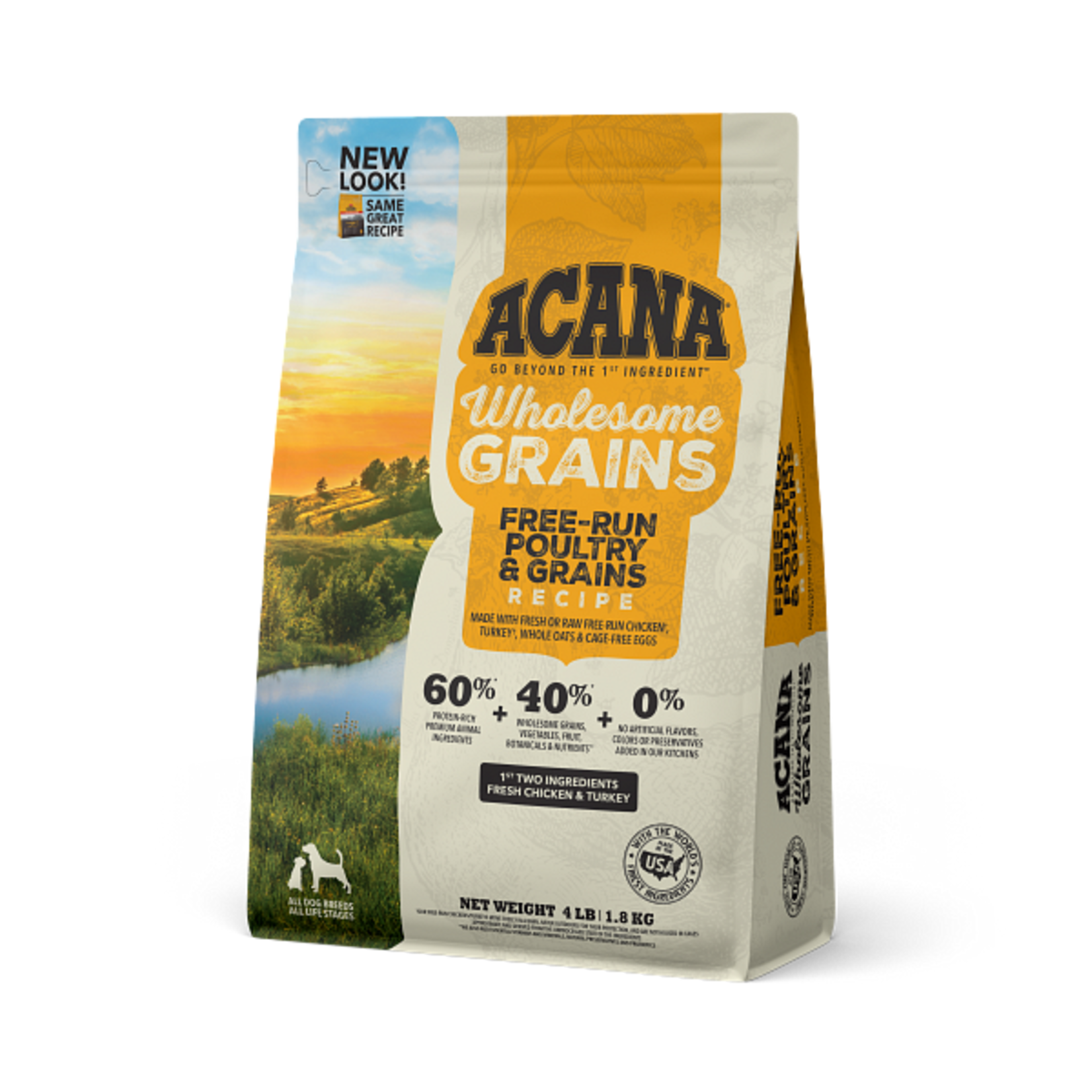 Champion Pet Foods Acana Dog Wholesome Grains Free Run Poultry 4#