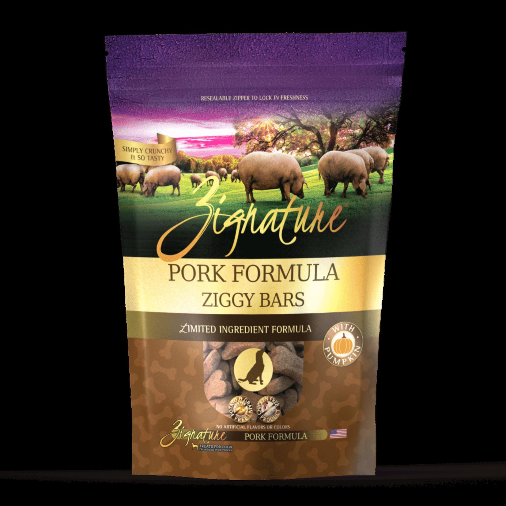Zignature Zignature Dog Grain Free Ziggy Bar Biscuits Pork 12 OZ