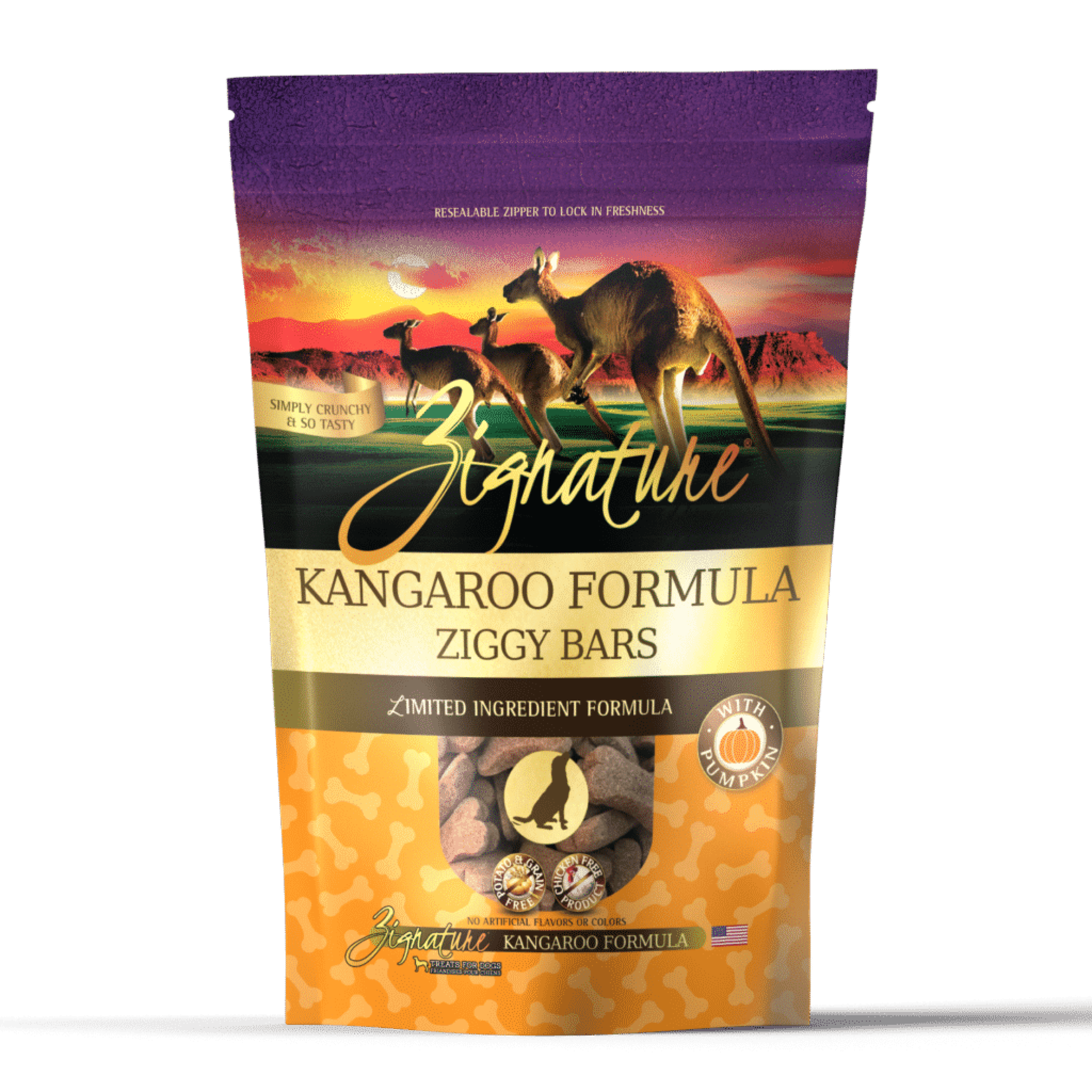 Zignature Zignature Dog Grain Free Ziggy Bar Biscuits Kangaroo 12 OZ