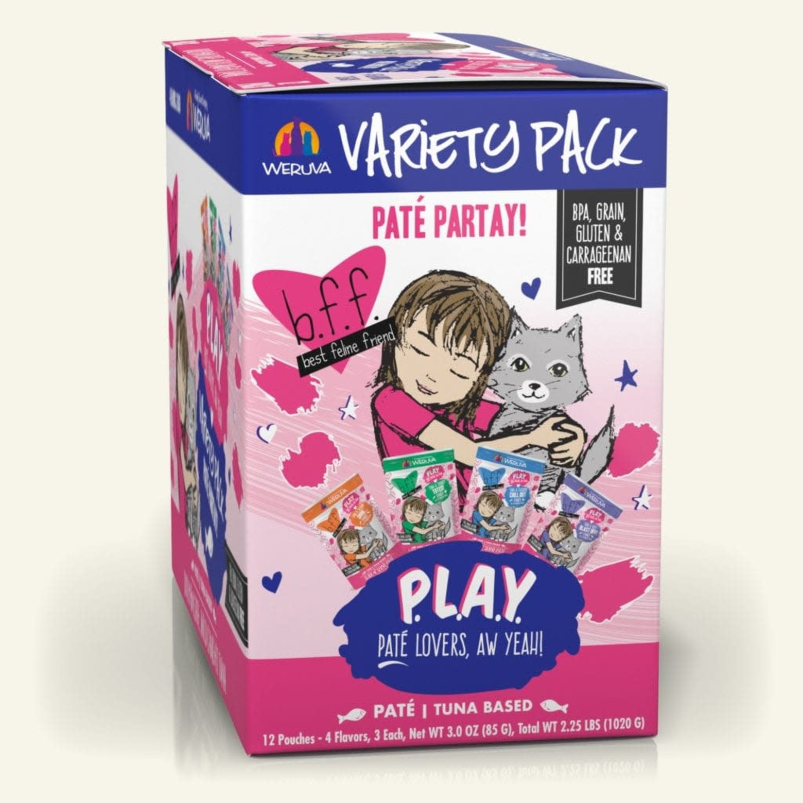 Weruva BFF PLAY Pate Partay Variety Pack 12 - 3 OZ Pouches