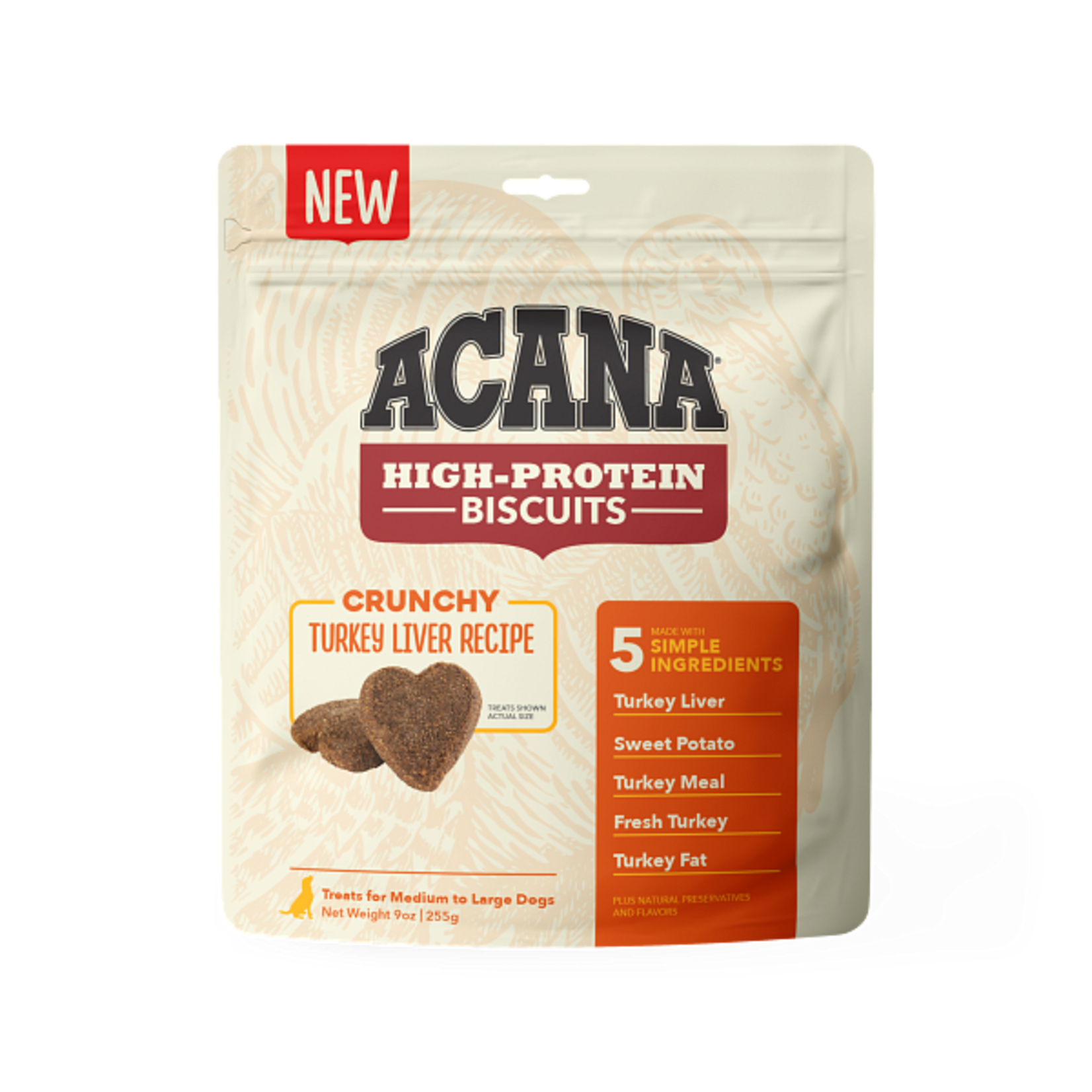 Champion Pet Foods Acana High-Protein Biscuits Turkey Liver Large 9 OZ