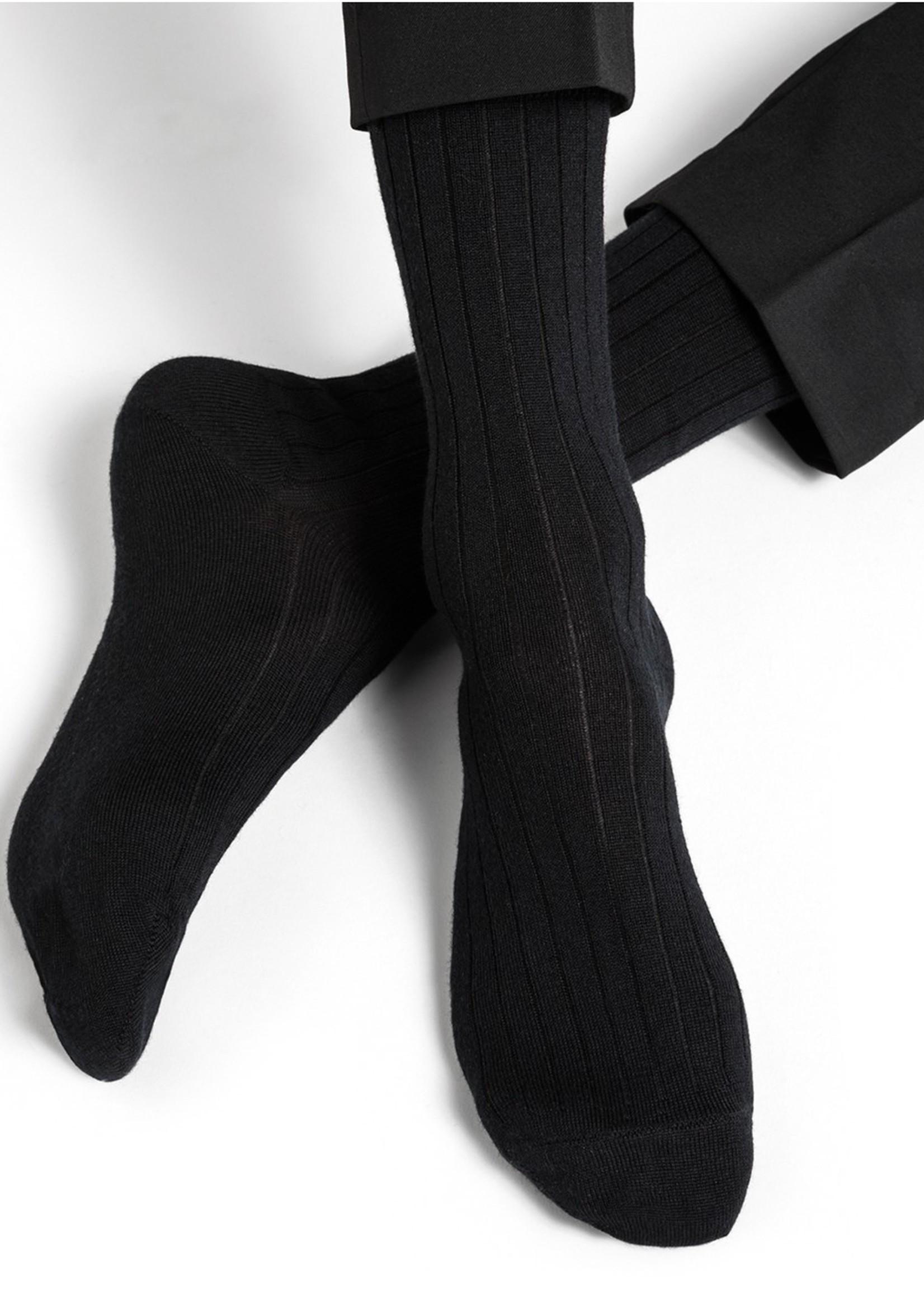 Bleuforet Men's Ribbed Merino Wool / Cotton Inside Sock