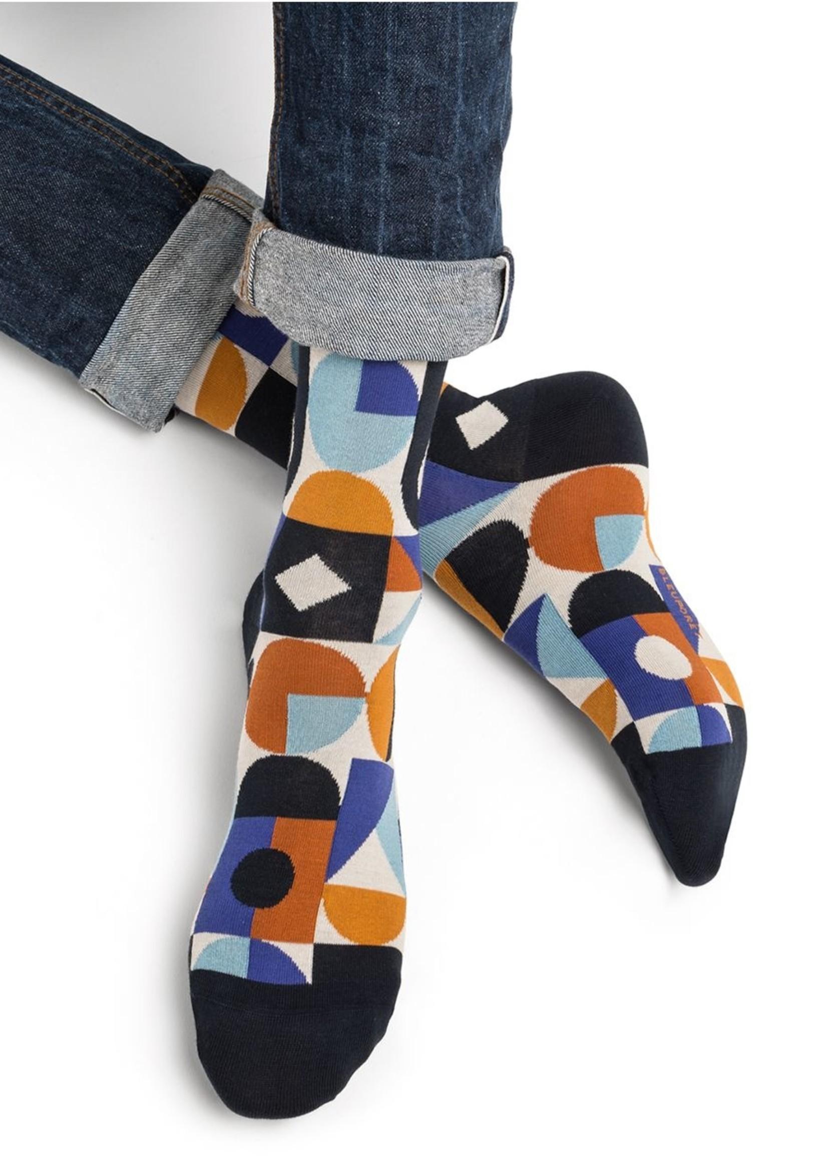 Bleuforet Men's Multicolour Geometric Pattern Socks