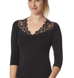 Arianne Teri Lace Appliqué 3/4 Sleeve Top