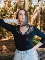 Arianne Teri Lace Appliqué 3/4 Sleeve Top