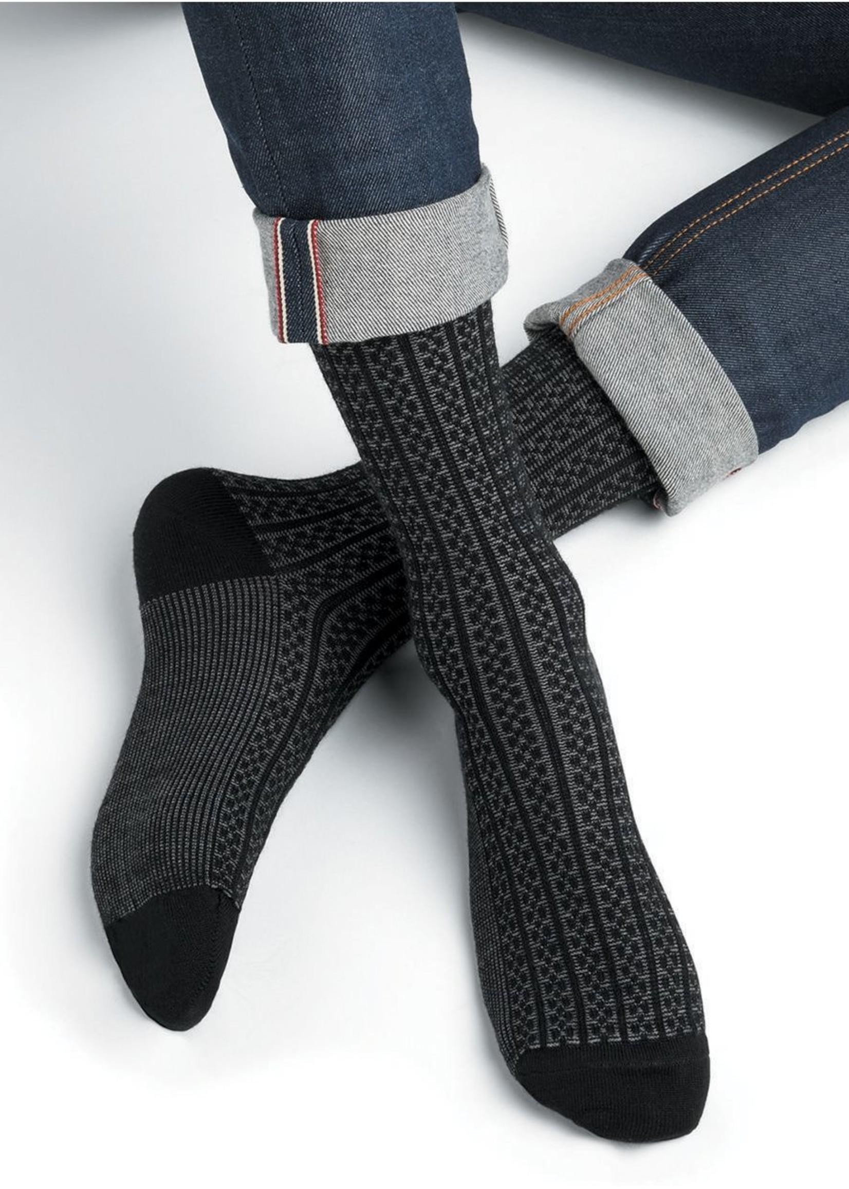 Bleuforet Men's Merino Wool Bicolour Ribbed Socks