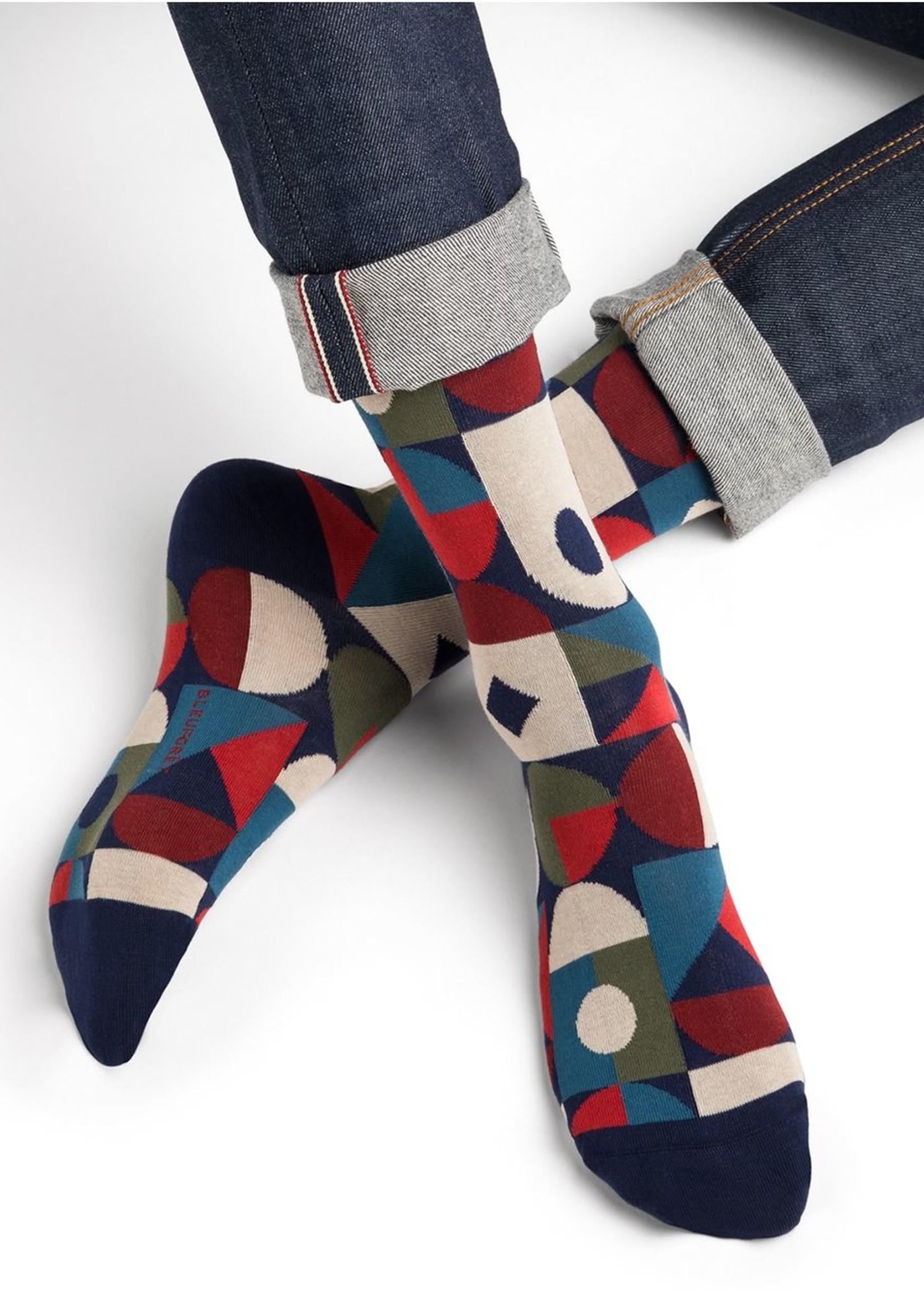 Bleuforet Men's Egyptian Cotton Geometric Patterned Sock