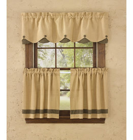 Park Designs Burlap & Black Check Curtains
