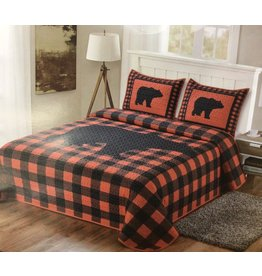 L. L. home Buffalo Plaid Red Bear Quilt Set Queen
