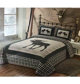 L. L. home Plaid Moose Print Queen Size Quilt Set
