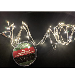 Kurt S. Adler 6ft LED Garland Warm White Twinkle Frosted