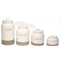 Young's Inc Ceramic Cream and Tan Canister Set
