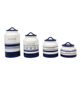 Young's Inc Ceramic Blue & White Canister Set