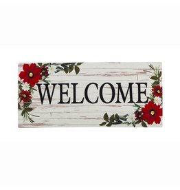 Evergreen Doormat Insert Red Floral Welcome
