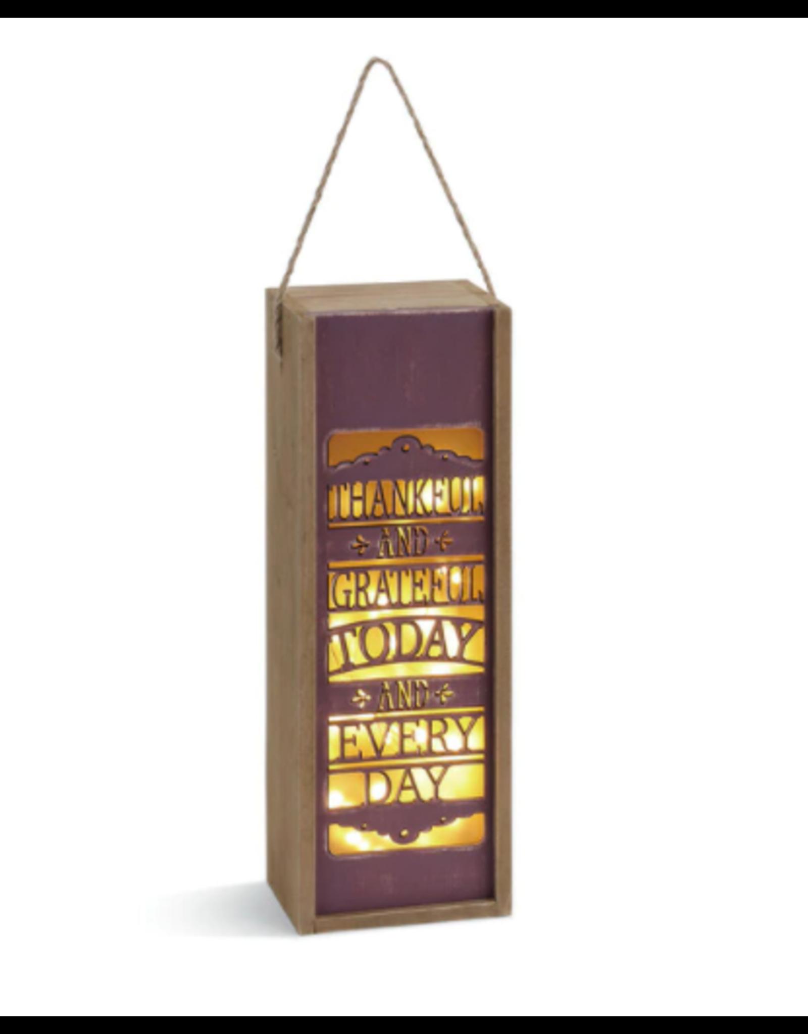 DEMDACO Thankful and Grateful Lantern and Wine Gift Box
