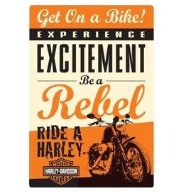 Ande Rooney Tin Sign Harley Davidson Get on Bike