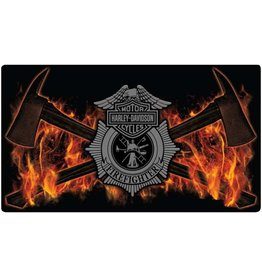 Ande Rooney Tin Sign Harley Davidson Firefighter Axes