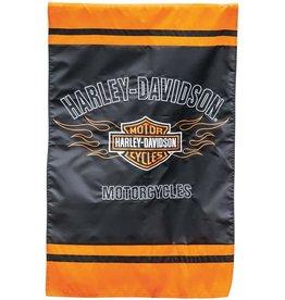 Evergreen House Flag Applique Harley Davidson Bar and Shield Flames