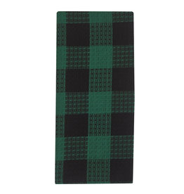 Park Designs WIcklow Check Forest Waffle Dishtowel
