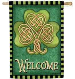 Evergreen House Flag Celtic Shamrock