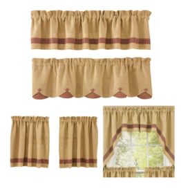 Park Designs Burlap & Red Check Curtains