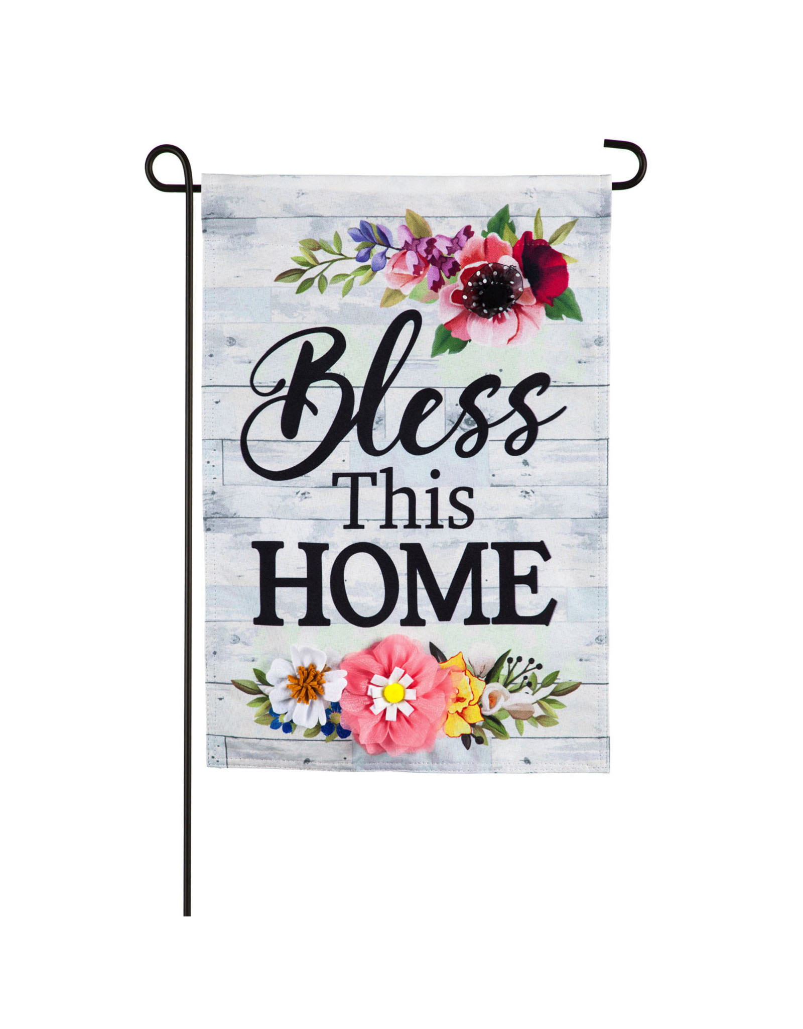 Evergreen Bless This Home 3D Embellished Garden Flag