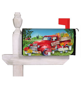 Evergreen Red Flower Truck Mailbox Cover