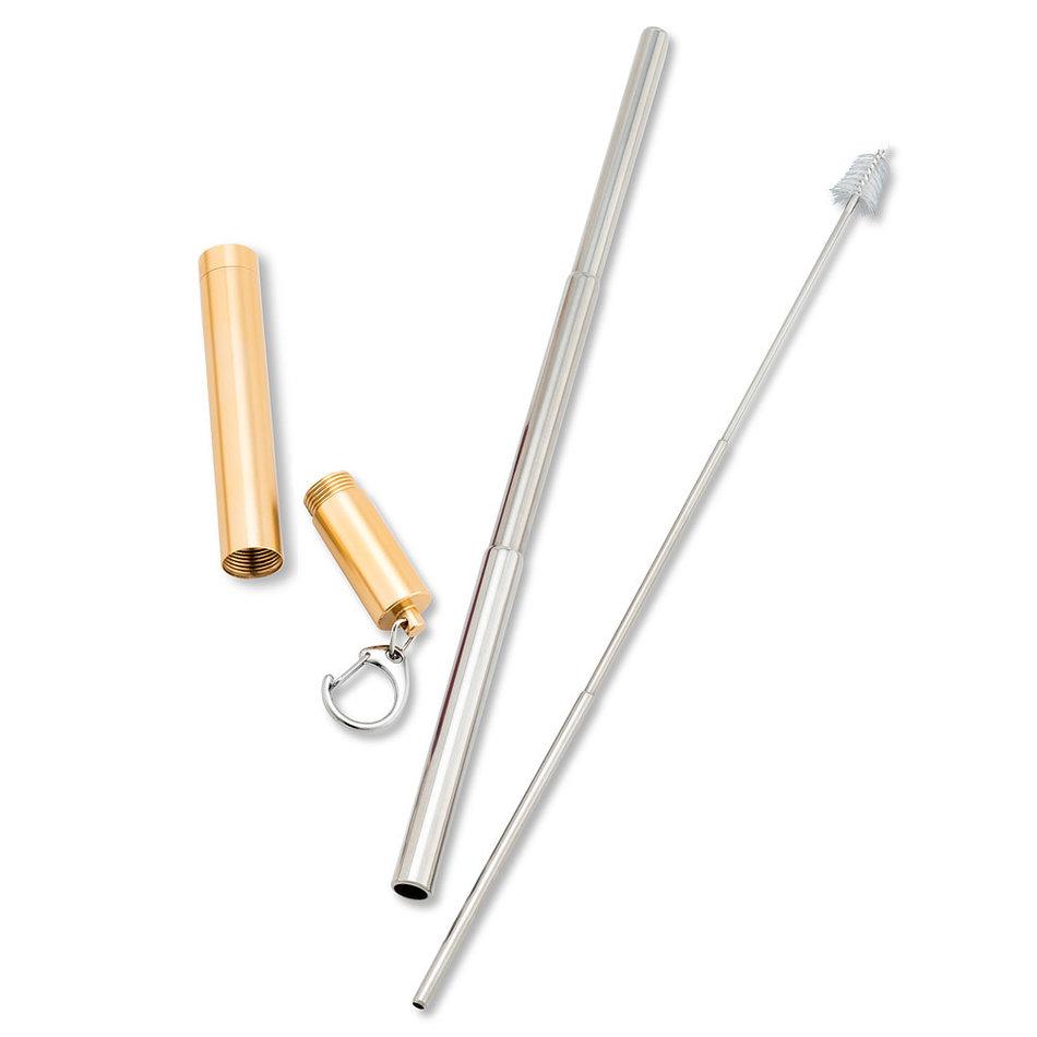 Abbott Collapsible Straw & Brush in Tube, Gold