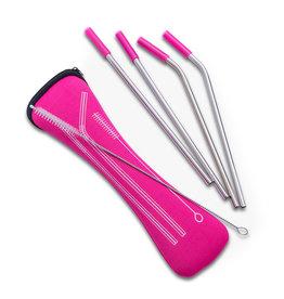 Abbott 4 Straws & Brush in Pouch, Pink