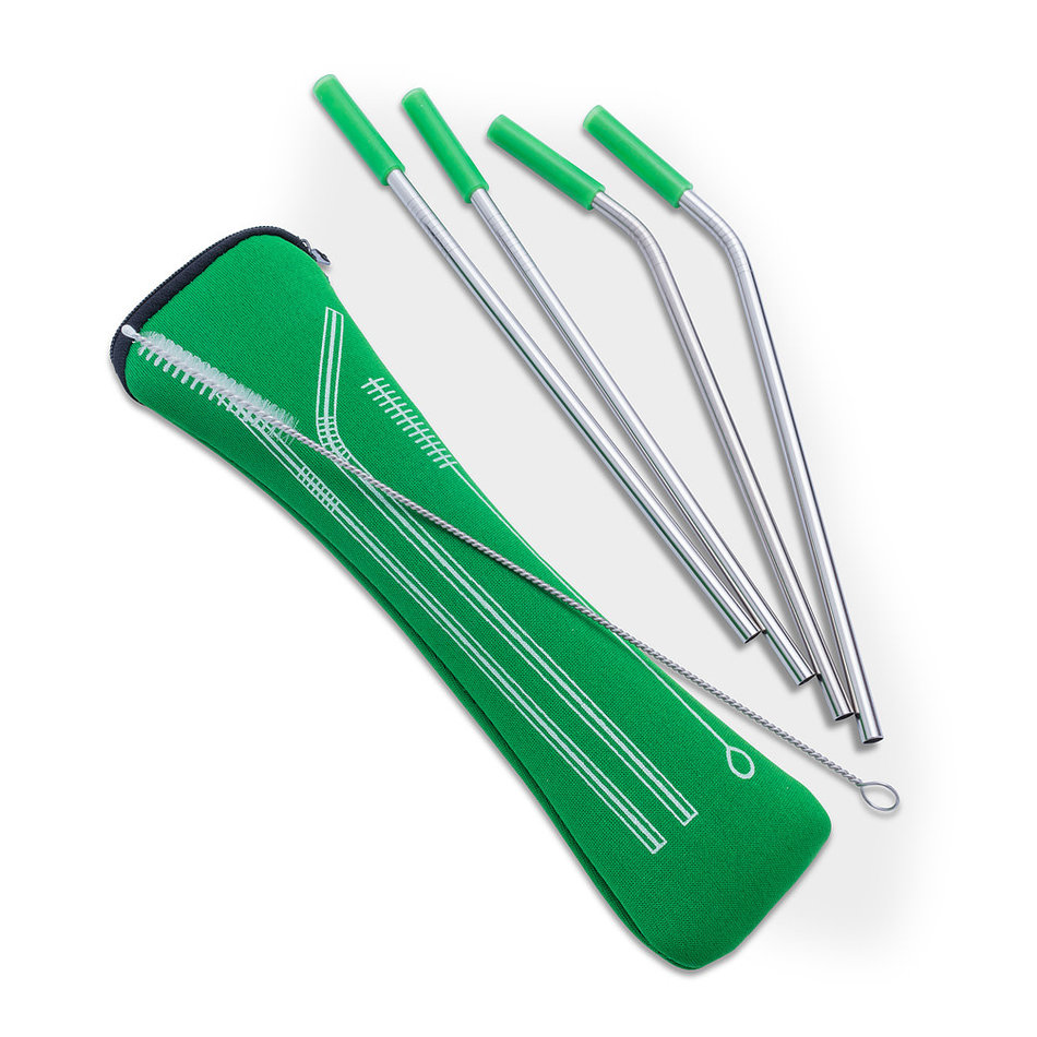 Abbott 4 Straws & Brush in Pouch, Green