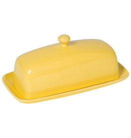 Stoneware Rectangular Butter Dish, Lemon