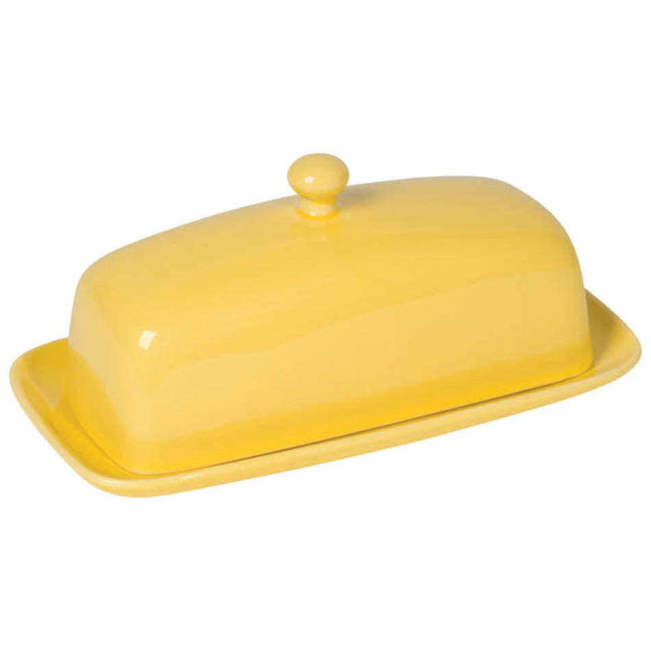 Stoneware Rectangular Butter Dish, Lemon