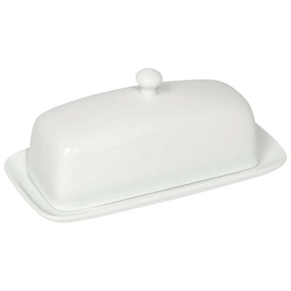 Stoneware Rectangular Butter Dish, White