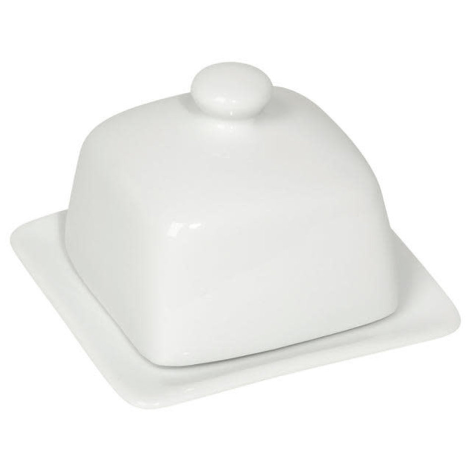 Square Butter Dish, White