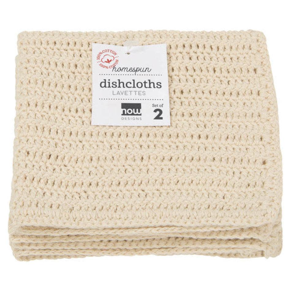 Now Designs Homespun Dishcloths, Natural, Set of 2