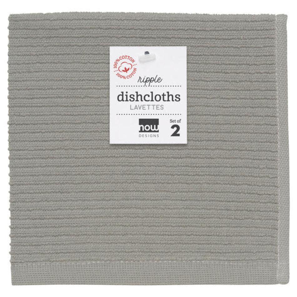 Now Designs Ripple Dishcloth, London Gray, Set of 2