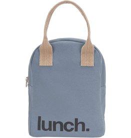 Fluf Fluf Zip Lunch Bag, Blue/Grey