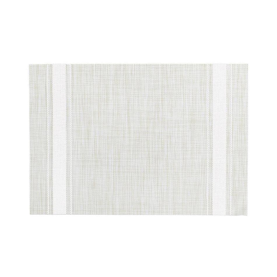 Bistro Stripe Vinyl Placemat, White