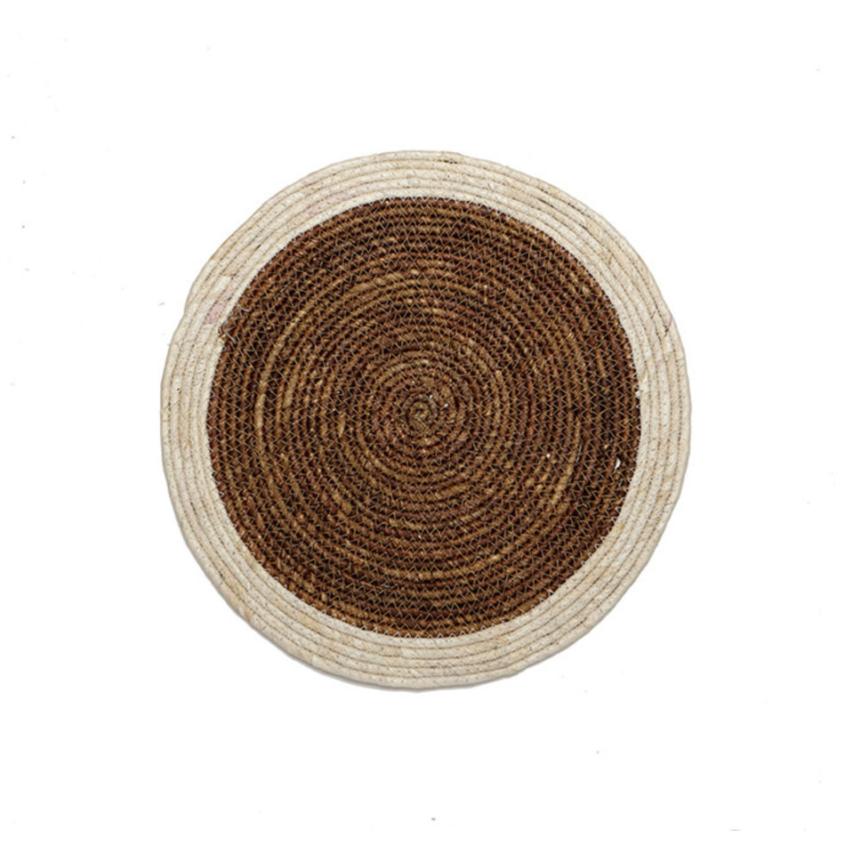 Natural Woven Round Placemat, Espresso