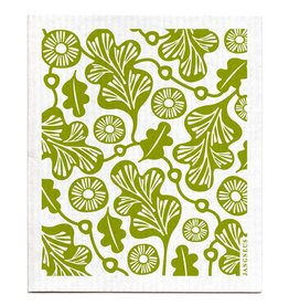 Swedish Dishcloth, Green Oak Leaf