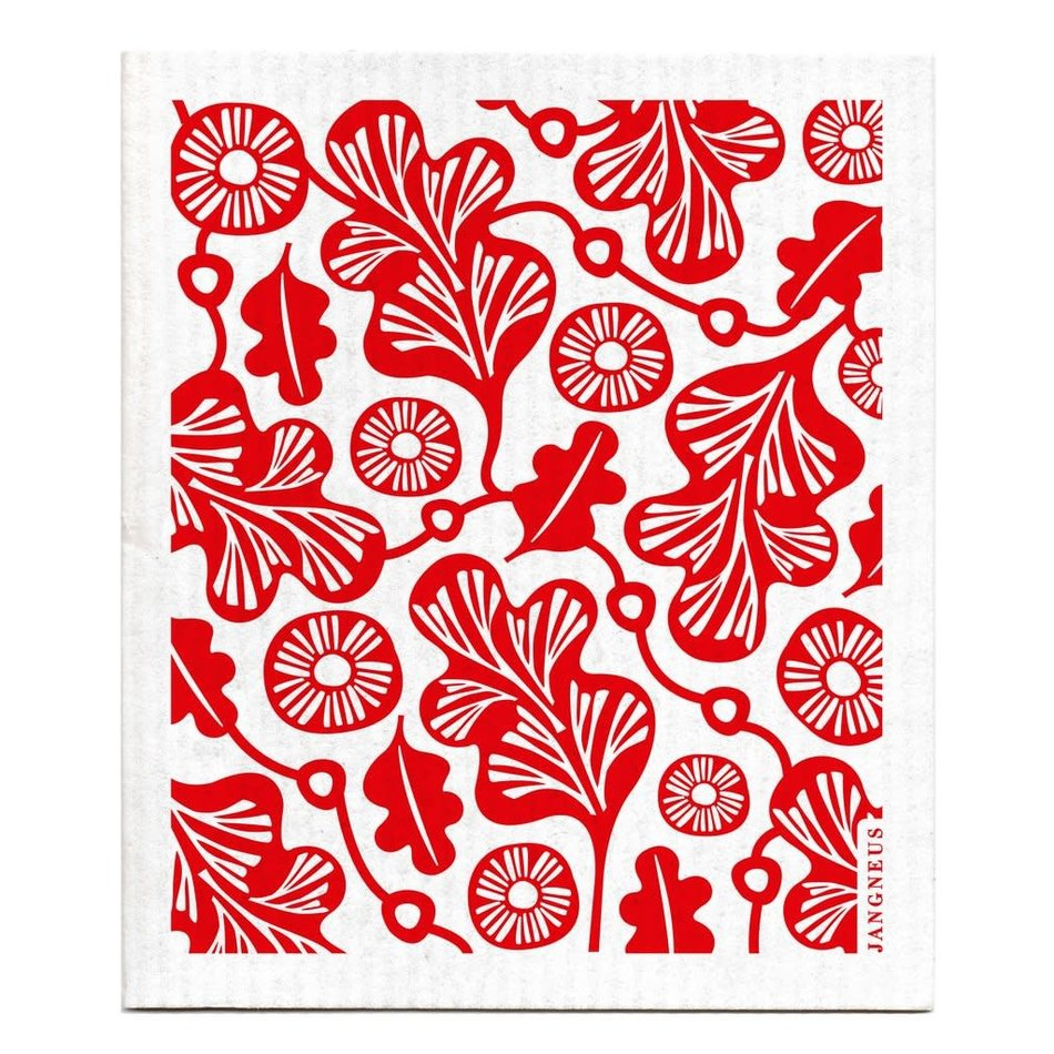 Swedish Dishcloth, Red Oak Leaf