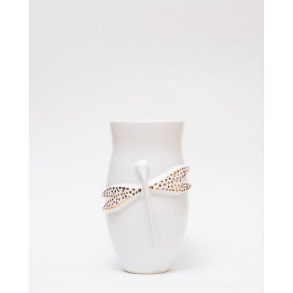 Mena Dragonfly Vase, White with Gold