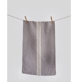 Linen Way Maison Stone Washed Linen Tea Towel, Charcoal with White Stripe