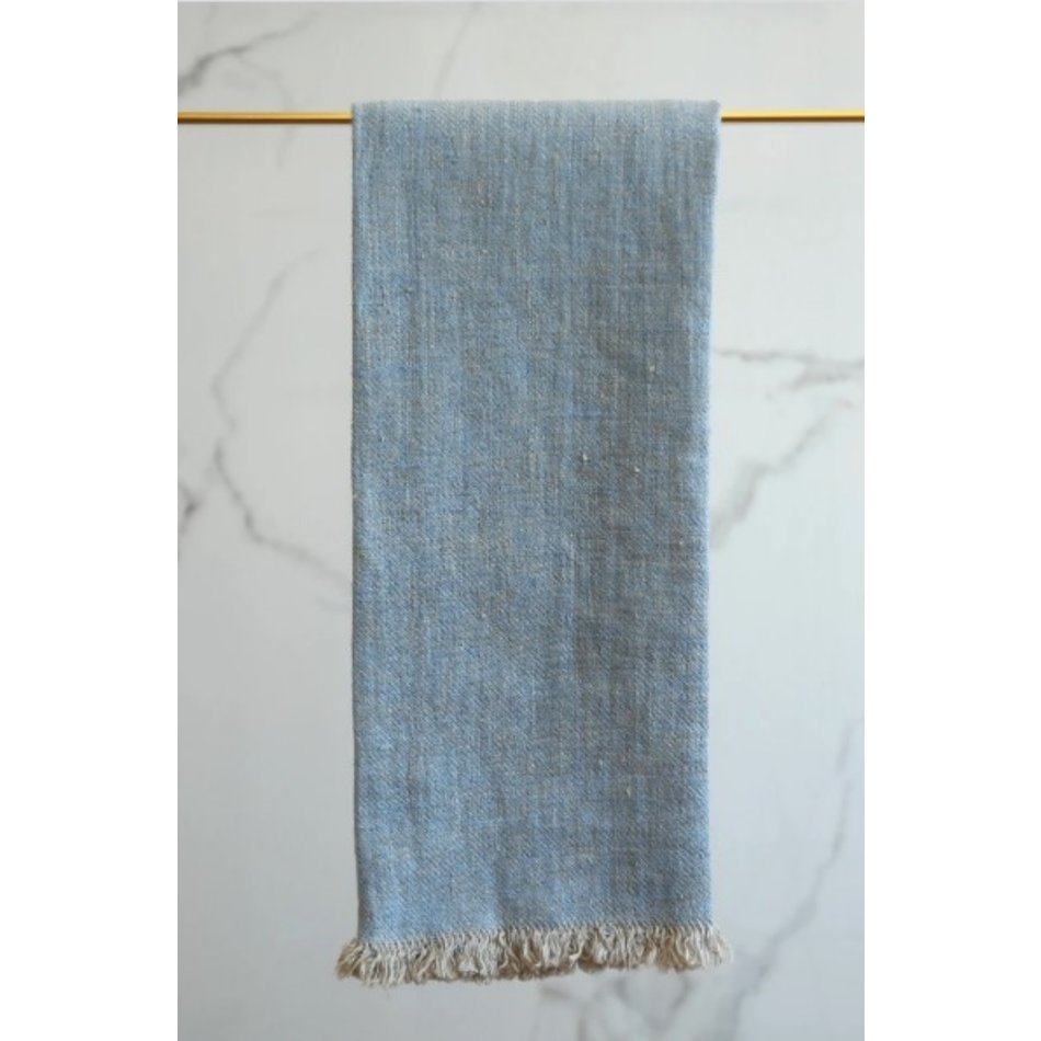 Linen Way Bilbao Linen Tea Towel, Blue/Natural