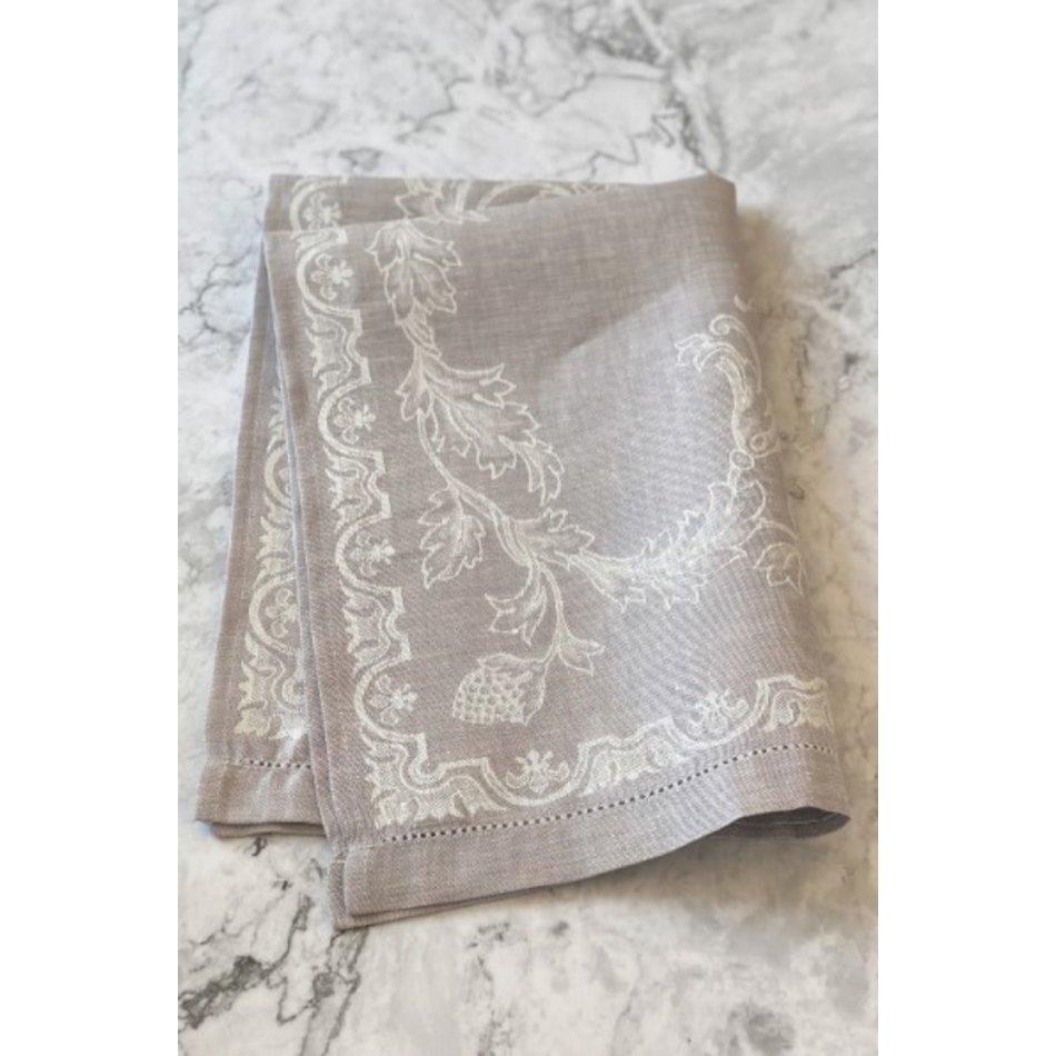 Linen Way Versailles Linen Tea Towel, Pale Plum