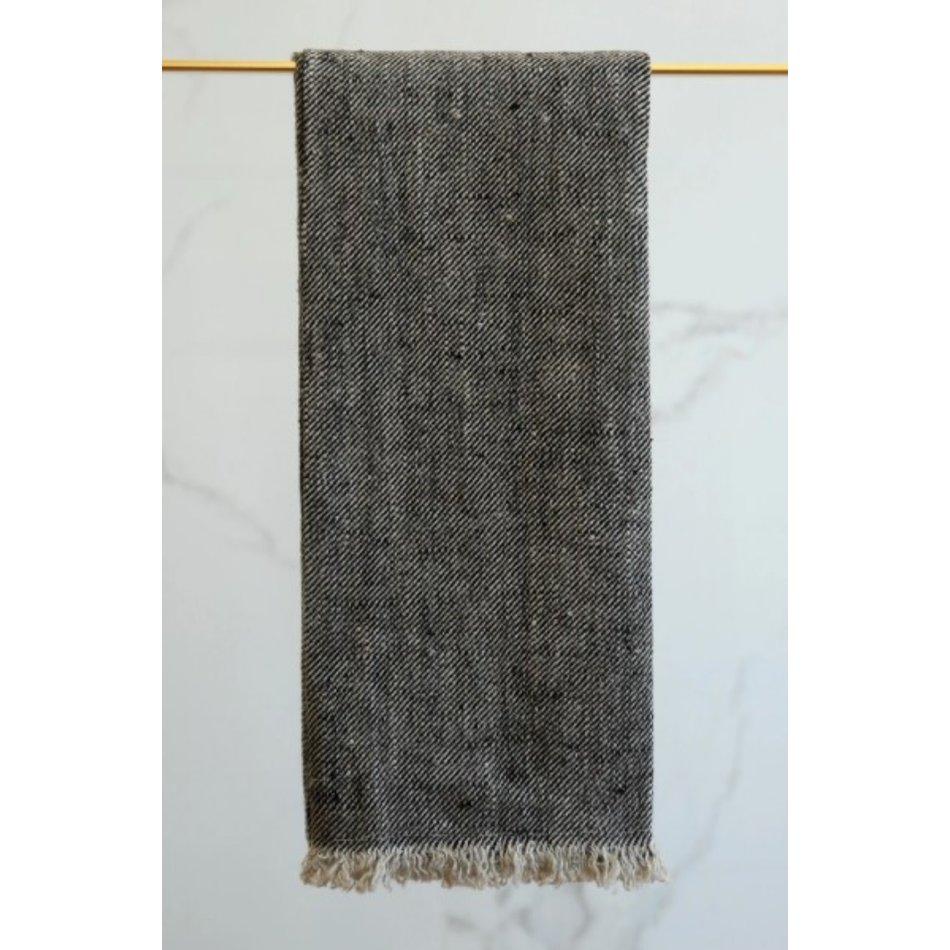 Linen Way Bilbao Linen Tea Towel, Black/Natural